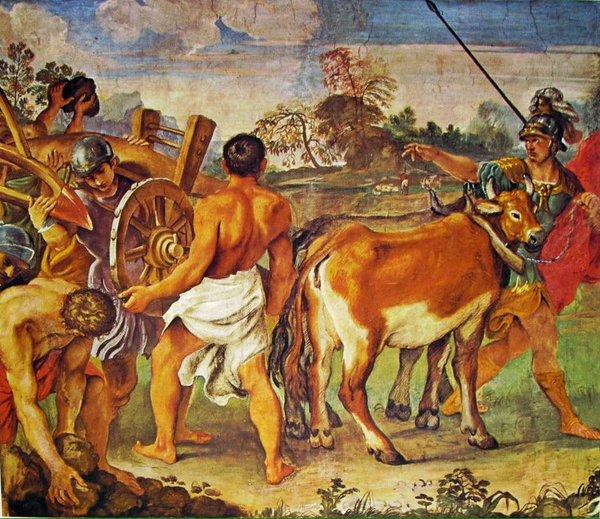 Romolo traccia con l'aratro il confine della città di Roma_ Annibale Carracci.